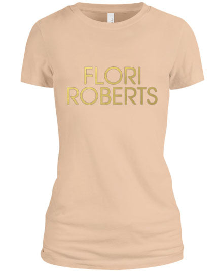 Flori Roberts Name Logo Cream Shirt Gold Foil