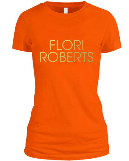 Flori Roberts Name Logo Orange Shirt Gold Foil