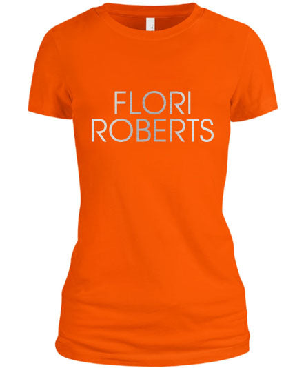 Flori Roberts Name Logo Orange Shirt Silver Foil