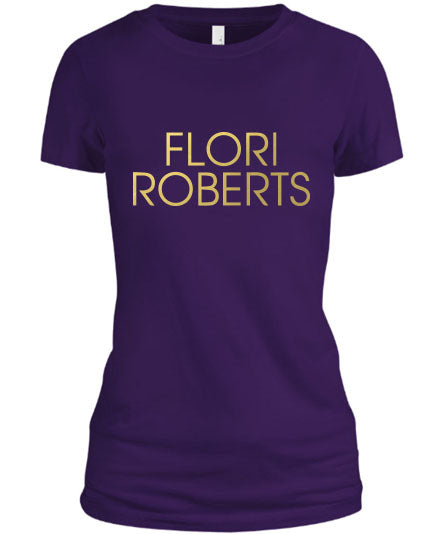 Flori Roberts Name Logo Purple Shirt Gold Foil