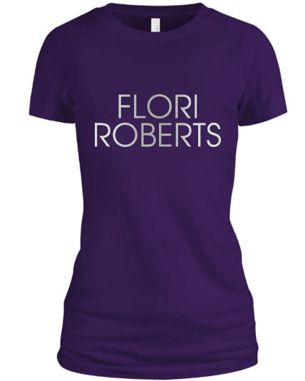 Flori Roberts Name Logo Purple Shirt Silver Foil