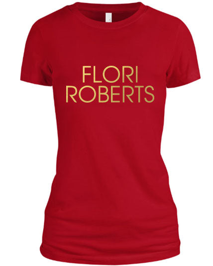 Flori Roberts Name Logo Red Shirt Gold Foil