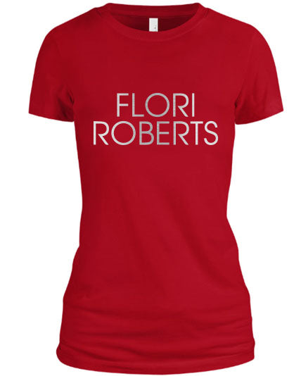 Flori Roberts Name Logo Red Shirt Silver Foil