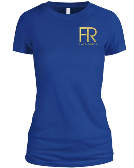 Flori Roberts FR Royal Blue Shirt Gold Foil Chest Logo