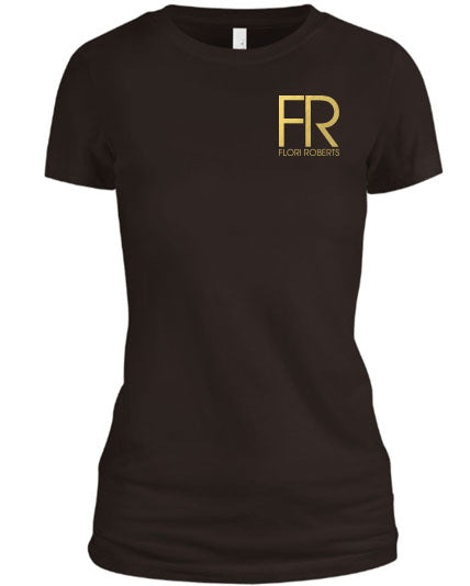 Flori Roberts FR Brown Shirt Gold Foil Chest Logo