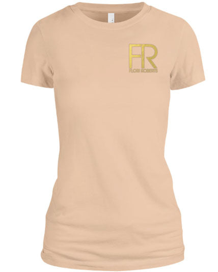 Flori Roberts FR Cream Shirt Gold Foil Chest Logo