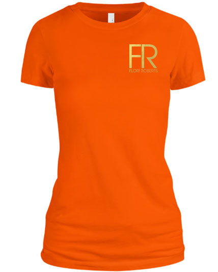 Flori Roberts FR Orange Shirt Gold Foil Chest Logo