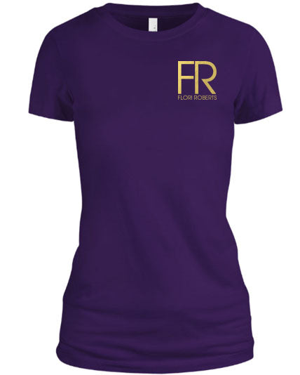 Flori Roberts FR Purple Shirt Gold Foil Chest Logo