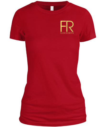 Flori Roberts FR Red Shirt Gold Foil Chest Logo