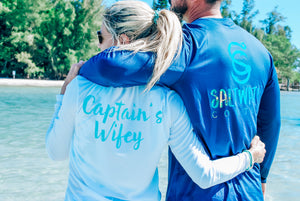 Captain's Wifey - Scoop Performance UPF Long Sleeve - White