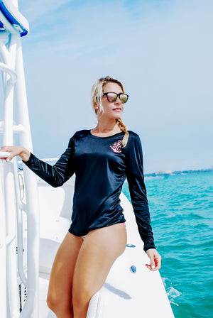 Captain's Wifey - Scoop Performance UPF Long Sleeve -Black-