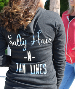 """Salty Hair N Tan Lines"" Hoodie -Charcoal Black-"