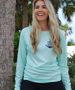 """Salty Hair N Tan Lines"" Mint Performance UPF Long Sleeve"