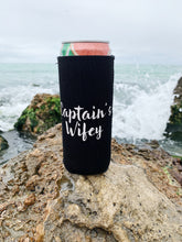 "Load image into Gallery viewer, ""Captain's Wifey"" Skinny Can Cooler"