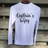 """Captain's Wifey"" Performance UPF 50+ White Long Sleeve"