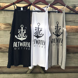 """Saltwater Couture"" Logo Flowy High Neck Tank"