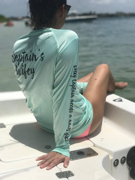 """Captain's Wifey"" Performance UPF Mint Long Sleeve"