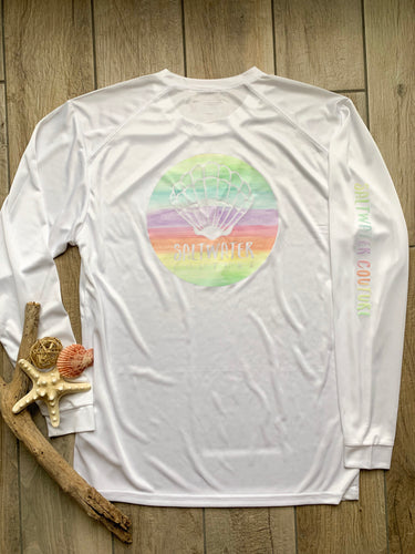 Watercolor Shell Performance UPF White Long Sleeve