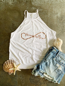 "**Last One - Size Large** ""Forever Salty"" Flowy High Neck Tank"