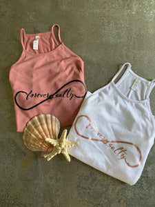 "**Last Two - Size XL** ""Forever Salty"" Flowy High Neck Tank"