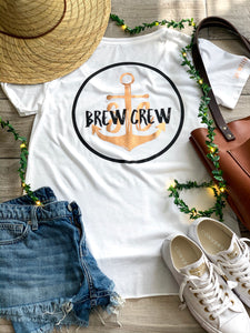 Brew Crew - Scoop Neck Tee - White