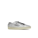 STYLIAN - Saint Laurent Court Classic SL/06 Embroidered Used-Look Metallic Leather Women's Sneaker, Silver