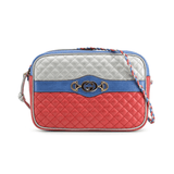 Gucci 5410610U14K 8169 G Interlock Matelasse Crossbody Bag, Red & Blue