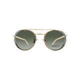 STYLIAN - Iron IRO25-MTBLK-50 24K Gold Plated Limited Edition Clip-On Men's Sunglasses, Antic Gold