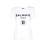 STYLIAN - Balmain SF11364I193 GAB 3 Button Coin Logo Women's T-Shirt, White