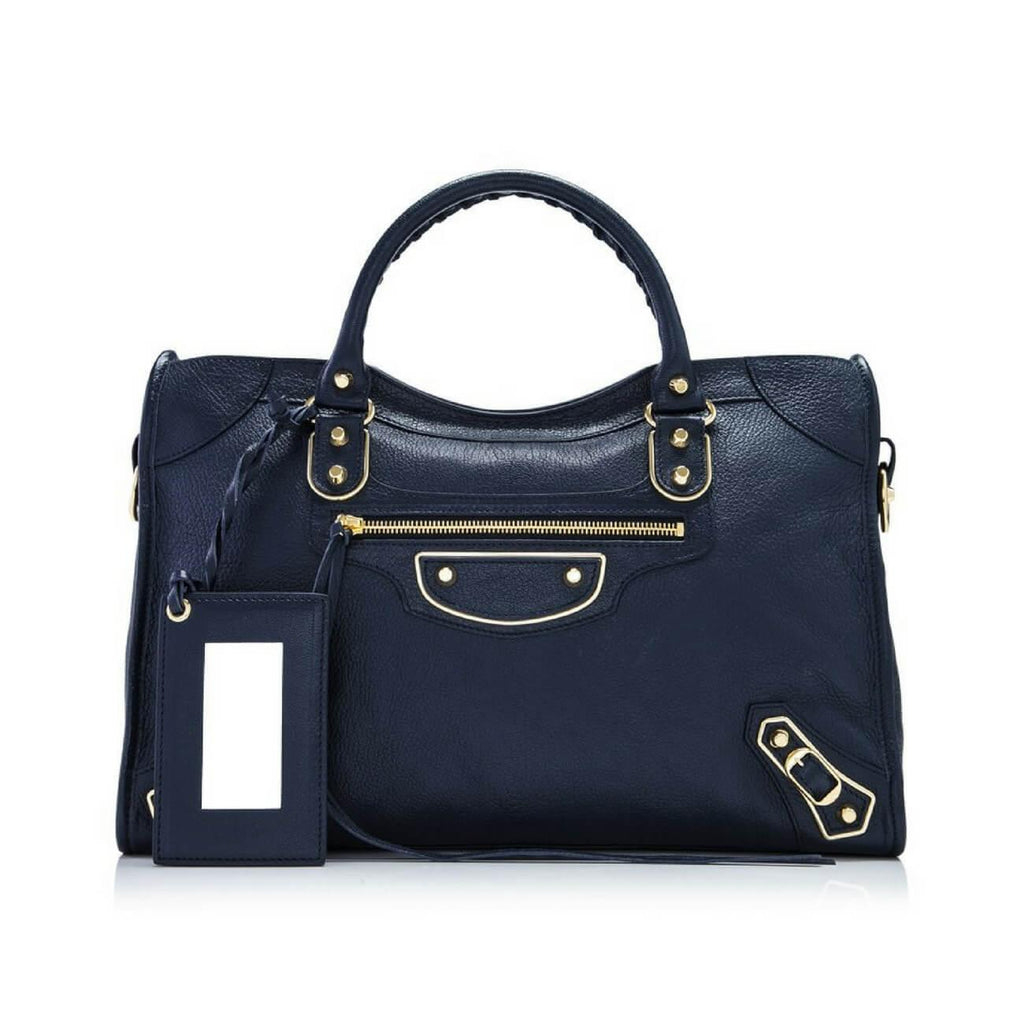 STYLIAN - Balenciaga 390154 AQ41G 4060 Classic Metallic Edge City Tote, Dark Blue