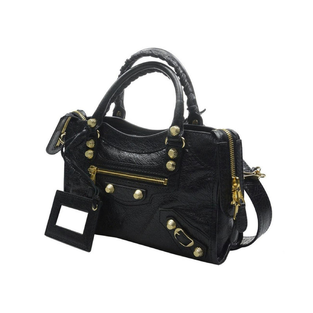 Balenciaga Giant 12 Gold Mini City Shoulder Bag, Black - STYLIAN - 2