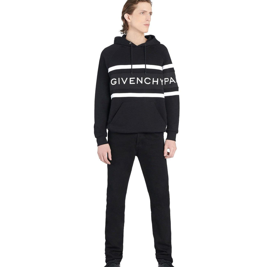 STYLIAN - Givenchy BMJ02L3Y3P-004 Givenchy Contrasting Stripe Men's Hoodie, Black