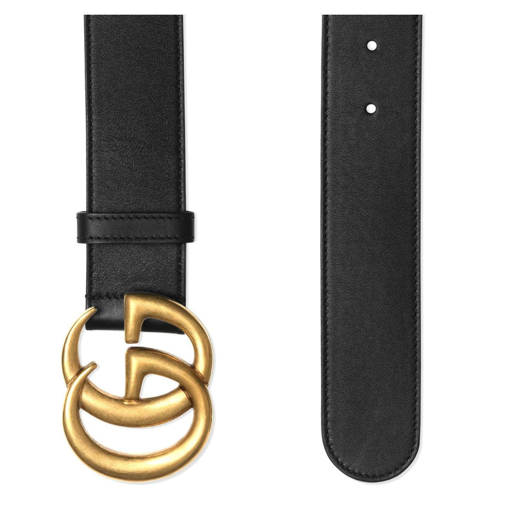 STYLIAN - Gucci 397660 AP00T 1000 Double G Buckle Men's Leather Belt, Black