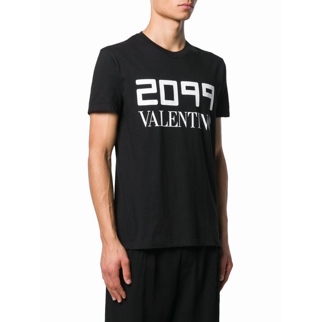 "Valentino SV0MG04E5SJ0NO ""2099"" Logo T-Shirt, Black"