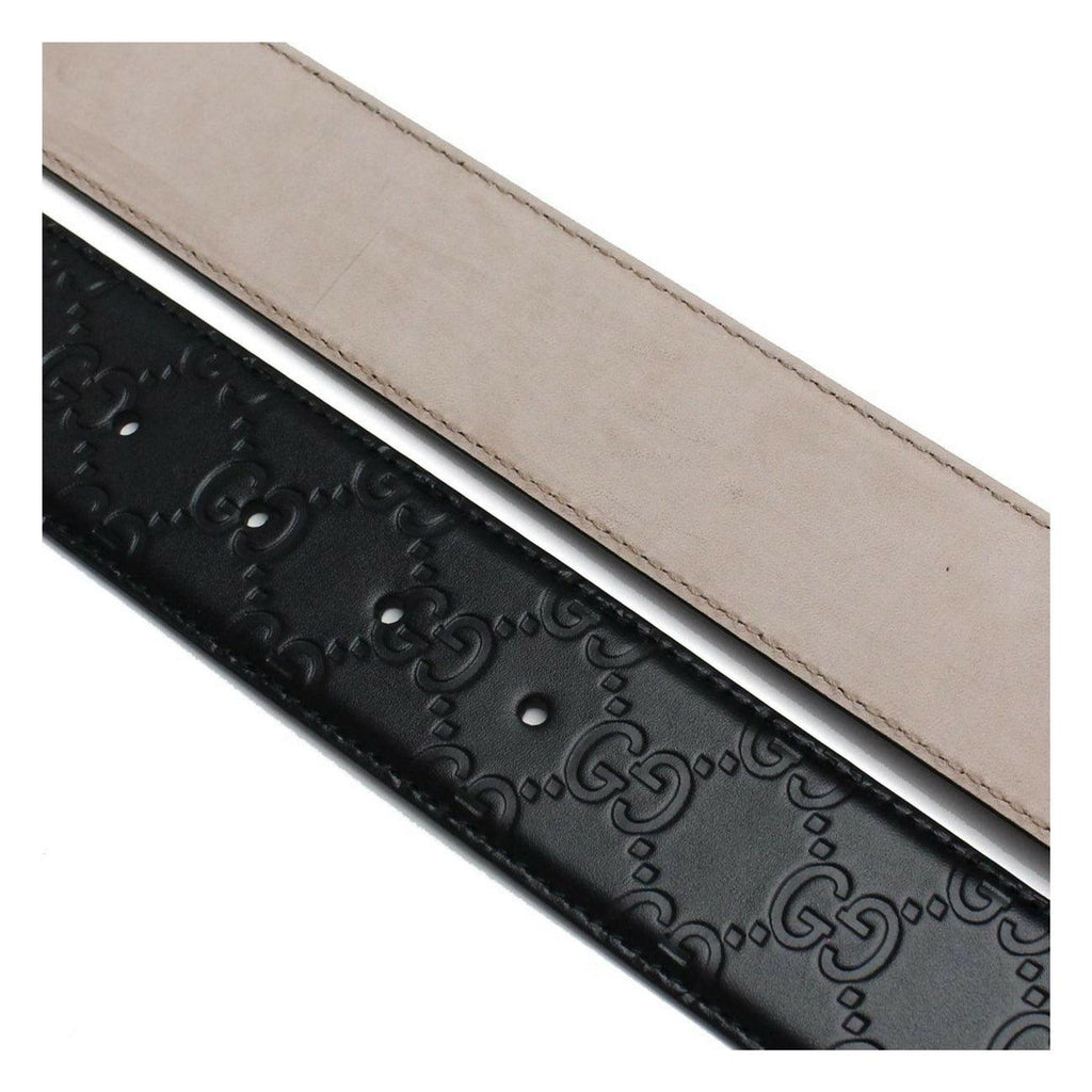 STYLIAN - Gucci 411924CWC1N1000 Signature Men's Leather Belt, Black