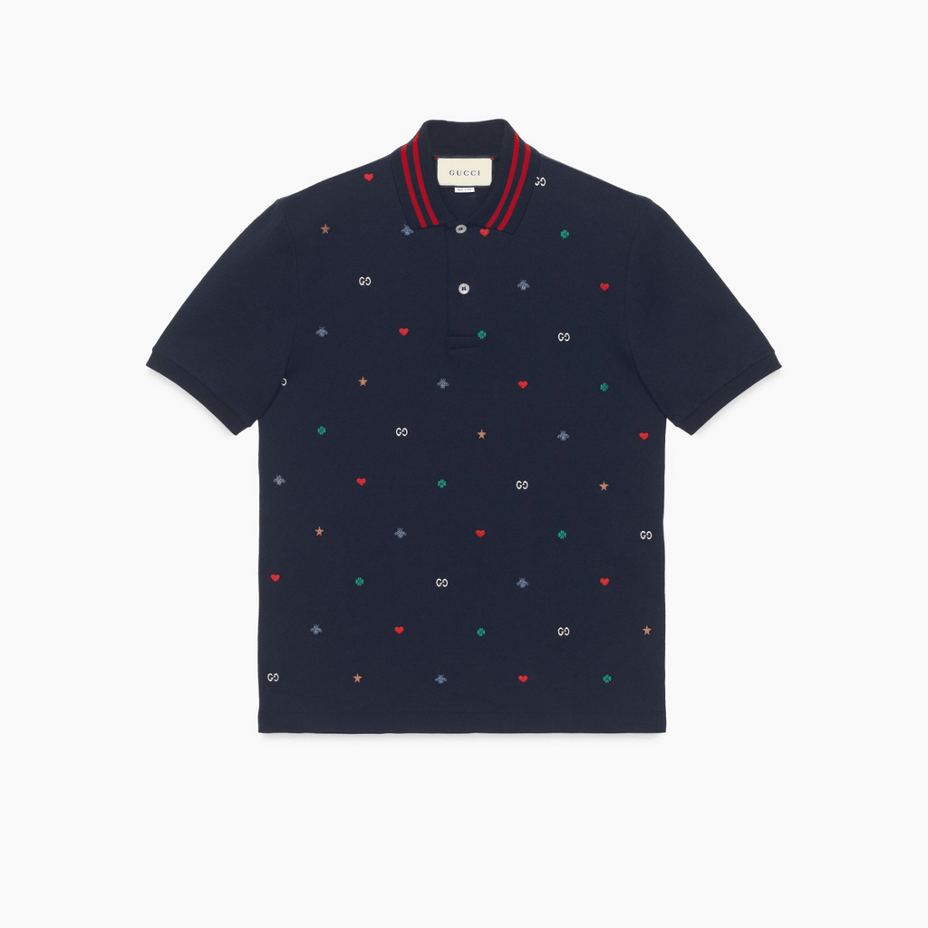 Gucci ‎574085XJBAA4437 Symbols Embroidery Men's Polo Shirt, Navy