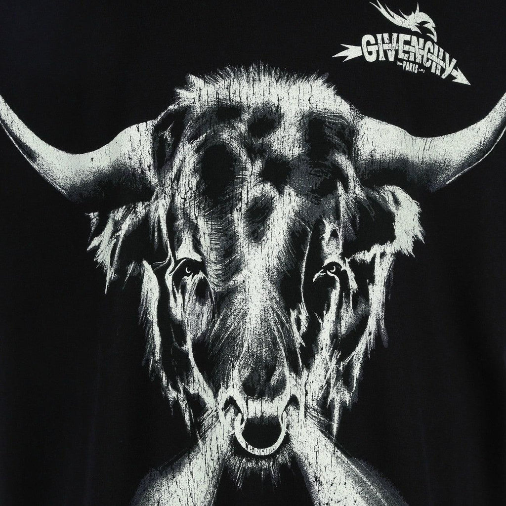 Givenchy BM70K73002-001 Taurus Printed Oversized Men's T-Shirt, Black - STYLIAN