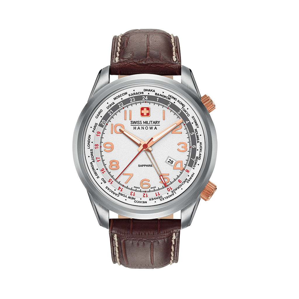 STYLIAN - Swiss Military 06-4293.04.001 Worldtimer GMT Men's Watch, White