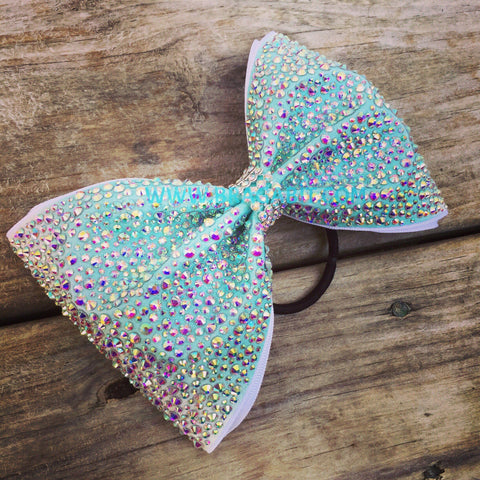 Aqua Tailless Bow With AB Rhinestones