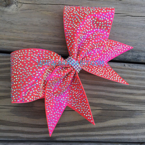 Beautiful Neon Pink Bow With Rhinestones