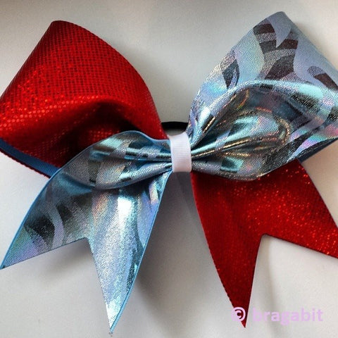 Columbia blue, red and white cheer bow. - BRAGABIT  - 1