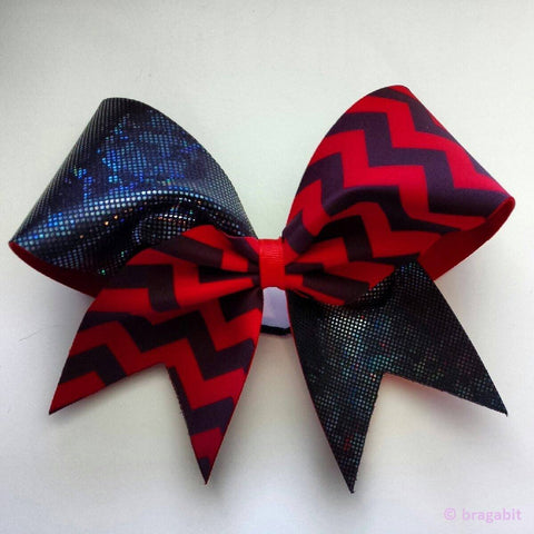 Black shattered glass and red chevron fabric bow - BRAGABIT
