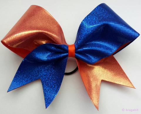 Blue and orange mystique fabric cheer bow - BRAGABIT
