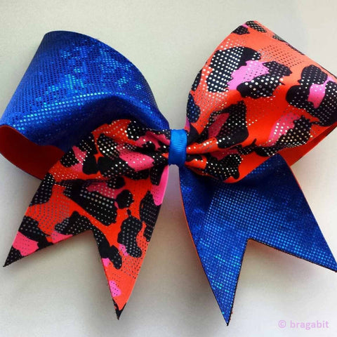 Blue shattered glass and orange cheetah print fabric cheer bow - BRAGABIT