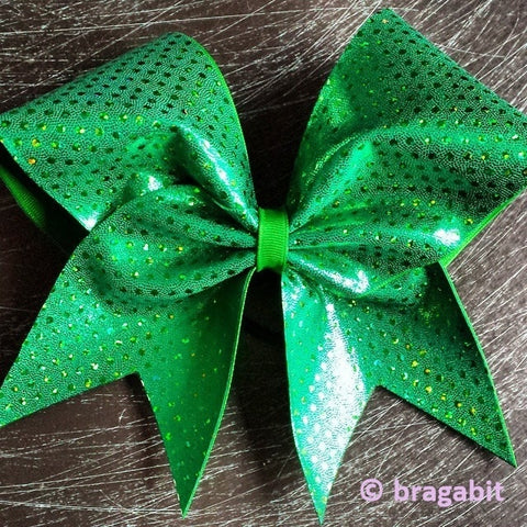 Bow with holographic dots in kelly green . words or designs can be add for extra charge - BRAGABIT
