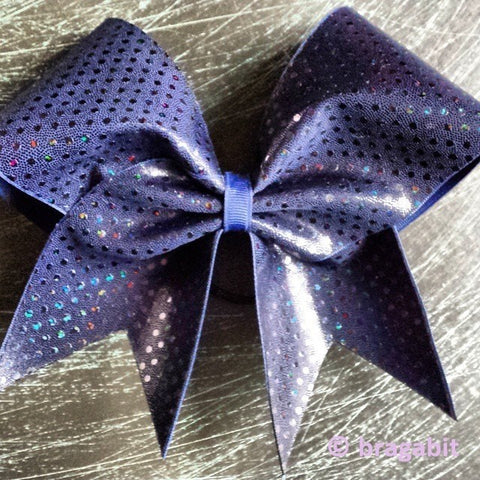 Bow with holographic dots in navy. - BRAGABIT