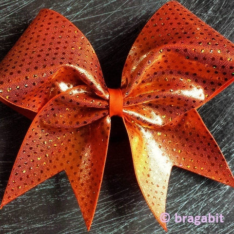 Bow with holographic dots in orange. - BRAGABIT