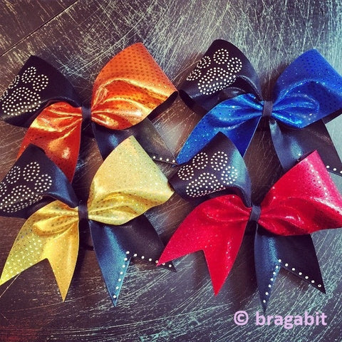 Cheer bow with rhinestones paw - BRAGABIT