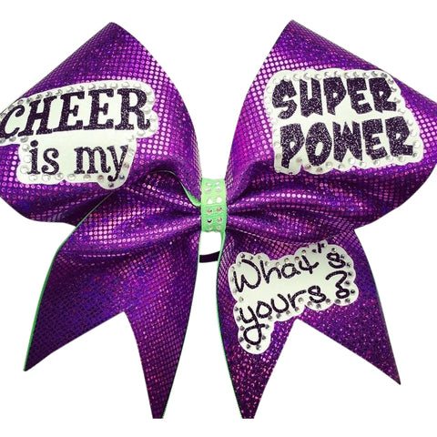 """Cheer is my superpower. What's yours? "" cheer bow with rhinestones. - BRAGABIT  - 1"