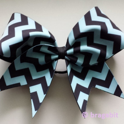 Chevron bow. Carolina blue and black chevron cheer bow. - BRAGABIT